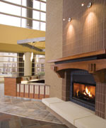 Photo of fireplace in the lobby